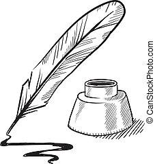 Quill Stift und Tintenfisch