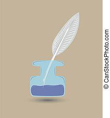 Quill und Tinte mit blauer Tinte zum Schreiben