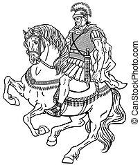 Römerkrieger auf dem schwarzen Pferd