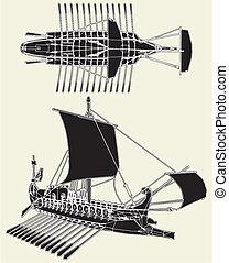 römisches , uralt, schiff