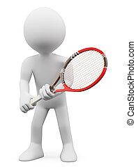 rückkehr, leute., tennisspieler, weißes, 3d