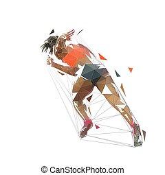 rückseite, vektor, niedrig, drawing., rennender , abbildung, frau, sprinten, frau, freigestellt, poly, abstrakt, ansicht, geometrisch