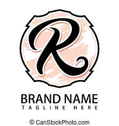 r, vektor, brief, ikone, logo