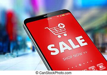 rabatt, smartphone, shoppen, verkauf, online