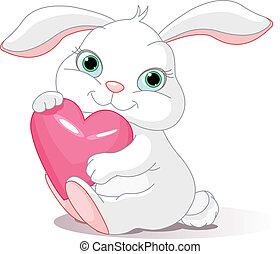 Rabbit hat ein Liebesherz