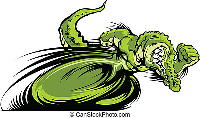 Racing Gator oder Croc Maskottchengrafik