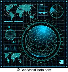 Radarschirm mit Weltkarte.