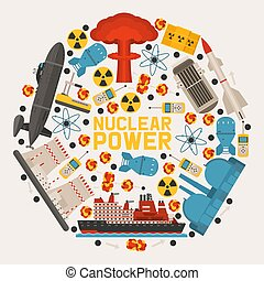 Radioaktiver, nuklearer Kraftwerksbau, Bombenexplosion, atomare Ikonen, Vektorgrafik. Raketen, Funksender, Schiff, Fabrik, Station. Umweltverschmutzung.