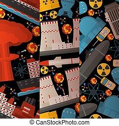 Radioaktiver, nuklearer Kraftwerksbau, Bombenexplosion, atomare Ikonen von nahtlosen Mustern vektorische Abbildung. Rocket, Funksender. Umweltverschmutzung.