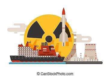 Radioaktiver, nuklearer Kraftwerksbau, Bombenexplosion, atomare Symbole von Bannern Vektorgrafik. Fliegende Rakete, Strahlungszeichen. Umweltverschmutzung. Gefahr.