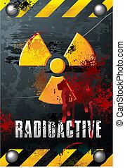 radioaktivität, zeichen, grunge