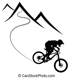 Radrennen auf einem Berghang - Silhouette.