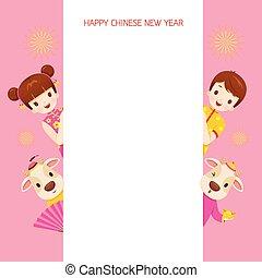 rahmen, jahr, glücklich, ochse, kinder, chinesisches neues jahr