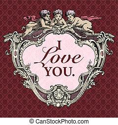 rahmen, vektor, amor, valentines