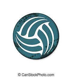 rahmen, volleyball, blaues, kreis, grunge