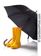 rainboots, schwarz, gelber schirm, weißes