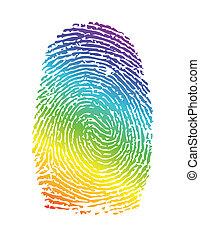 Rainbow-Stolzabdruck. Fingerabdruck-Illustration