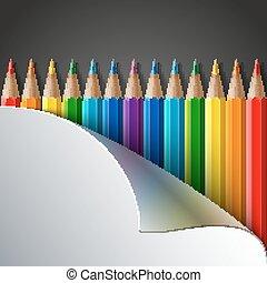 rainbow verfärbte, bleistifte, grau, dunkel, realistisch, papier, hintergrund, ecke, weißes, drehen