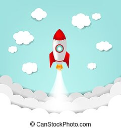 rakete, himmel-wolke, karikatur