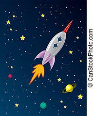 rakete, raum, stilisiert, vektor, retro, schiff