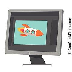 Raketen fliegen aus dem Laptop-Bildschirm-Vektor-Cartoon.