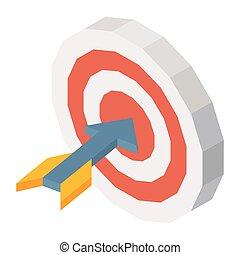 Raketen in Dartboard dreidimensionale Vektorgrafik auf weiß