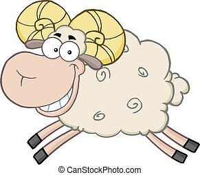 Ram Schafsfigur springt.