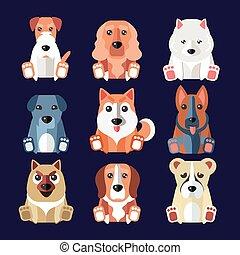 rassen, vektor, illustration., icons., hunden