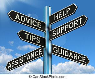 Ratgeber helfen bei der Unterstützung und dem Hinweis-Schild, zeigen Informationen und Anleitungen