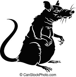ratte, silhouette, 001