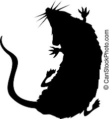 ratte, silhouette, krabbelnd