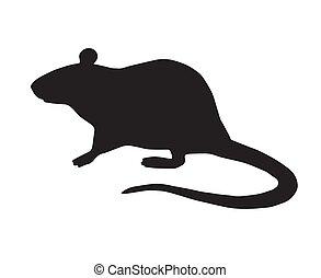 ratte, vektor, wohnung, stehende , silhouette, schwarz