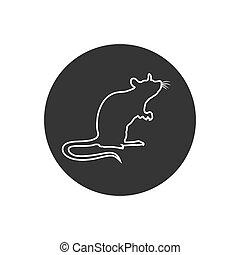 ratte, zeichen, linie, silhouette., icon., stehende , vektor