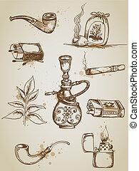 Rauchen und Zigarettensymbole.