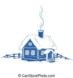 rauchwolken, kalte , jahr, hintergrund, stilisiert, schornstein, vektor, einsamkeit, winter, kommt, hütte, bild, frost, schnee, weißer zaun, schnee, blaues, dach, neu , freigestellt, gegenstand, klein, lies, abbildung