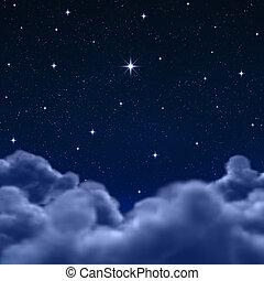 Raum oder Nachthimmel durch Wolken