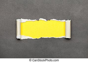 raum, zerrissene , gelber , papier, nachricht, dein