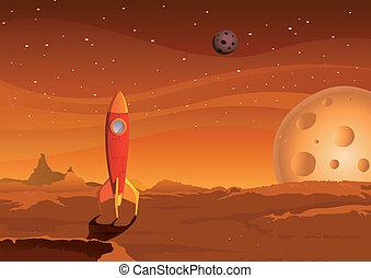 Raumschiff auf dem Mars