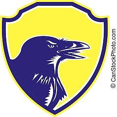 Raven Head Woodcut Retro-Schild.