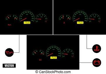 realistic., vector., auto, versagen, indicators.