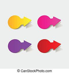 realistisch, element:, design, pfeil