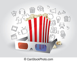 realistisch, elemente, film, gekritzel