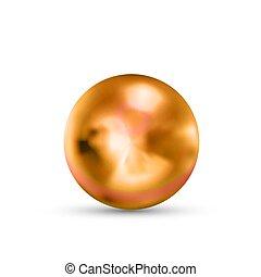 realistisch, kugelförmig, rosa, weißes, gold, glänzend, reflexion, glanz