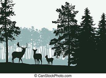 Realistische Abbildung der Landschaft mit Nadelwald, Reh und Familie, unter grünem Frühling oder Herbst Himmel, Vektor.
