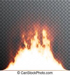 Realistische Feuerflammen auf transparentem Hintergrund. Spezialeffekte. Vector Illustration. Transluzenten. Transparenz