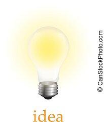 Realistische Glühbirne auf weiß isoliert. Vector Illustration