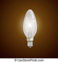Realistische Glühbirne im schwarzen Hintergrund isoliert.