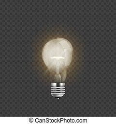 Realistische Glühbirne isoliert auf transparentem Hintergrund.