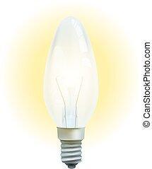 Realistische Glühbirne isoliert auf weißem Hintergrund.