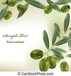 Realistische Oliven im Hintergrund